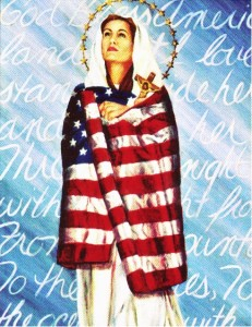 Mary Mother of Jesus wrapped in U.S. flag